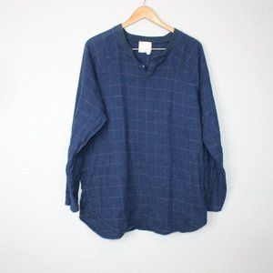 Boy + Girl Navy Blue Plaid Long Sleeve sz 4